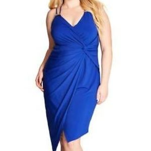 655076c58f3 City Chic blue faux wrap ruched twist knot dress